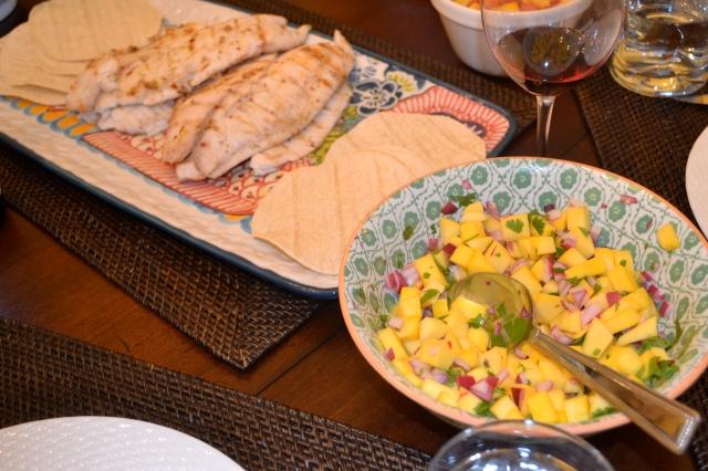 Fish Tacos and mango