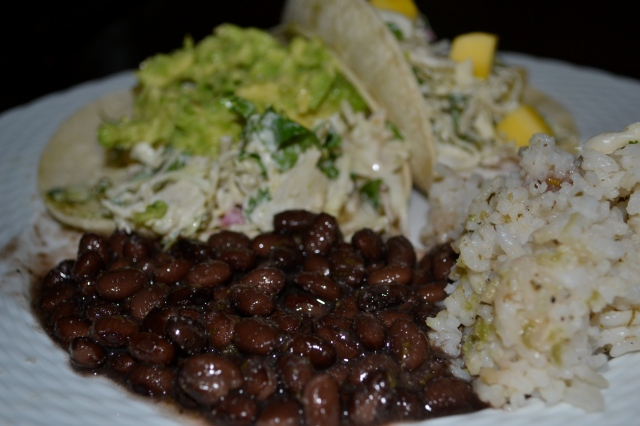 Fish Tacos - up close beans